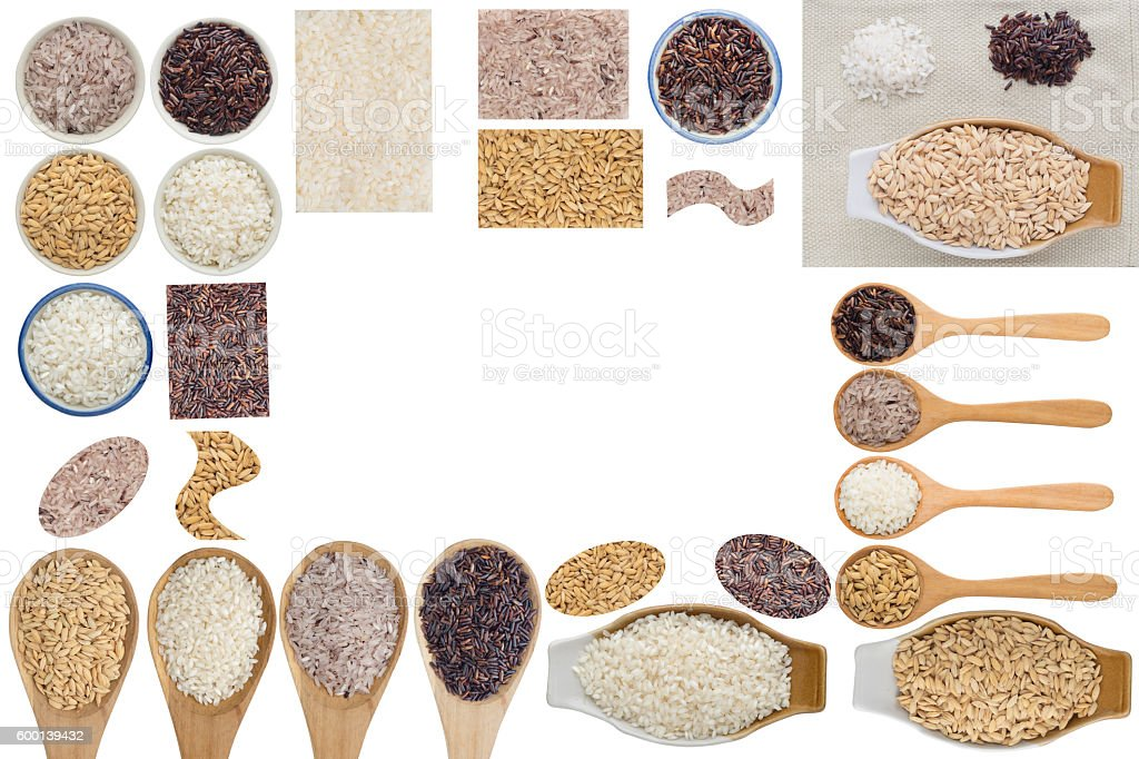 Rice collection on white background stock photo