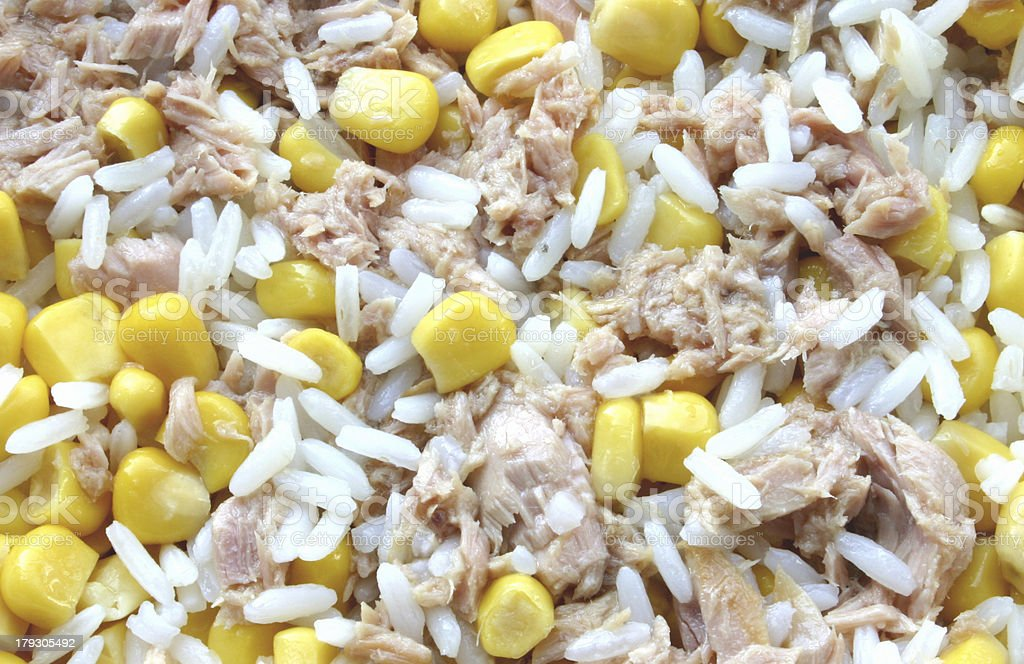 rice, corn and tuna royalty-free stock photo