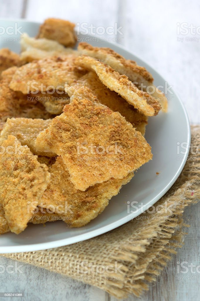 Rice Cracker with Flossy Pork stock photo