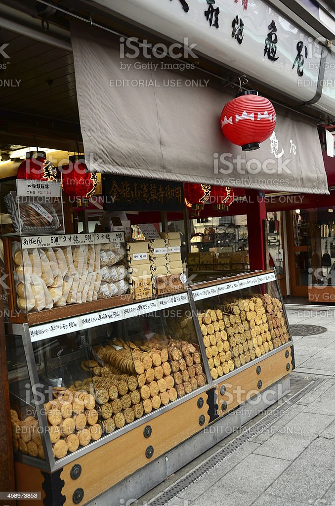 Rice Crackers for Sale in Asakusa royalty-free stock photo
