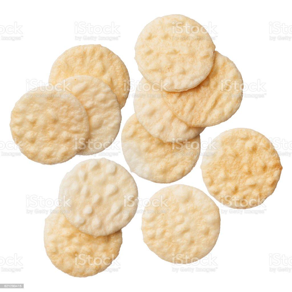 Rice crackers isolated on white background stock photo