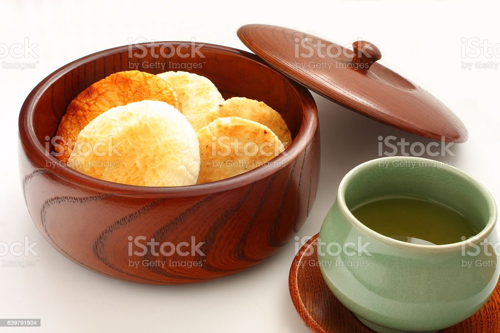 Rice Crackers Sembei, Japanese Snack and Green Tea stock photo