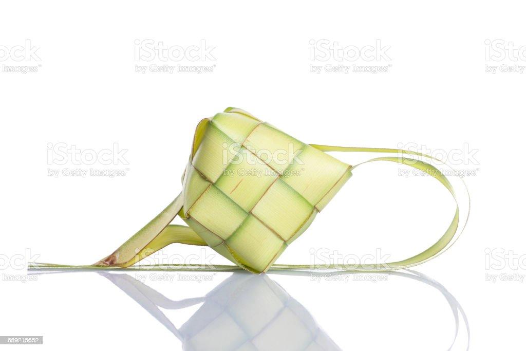 Rice dumpling isolated on white background (ketupat) stock photo