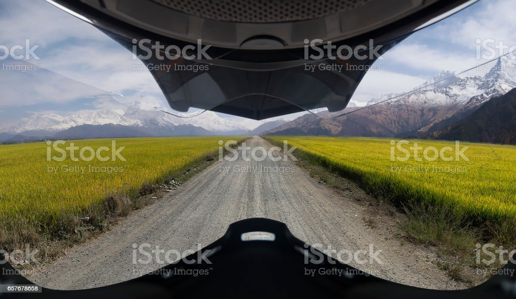 Rice field and himalaya mountain in Helmet view stock photo
