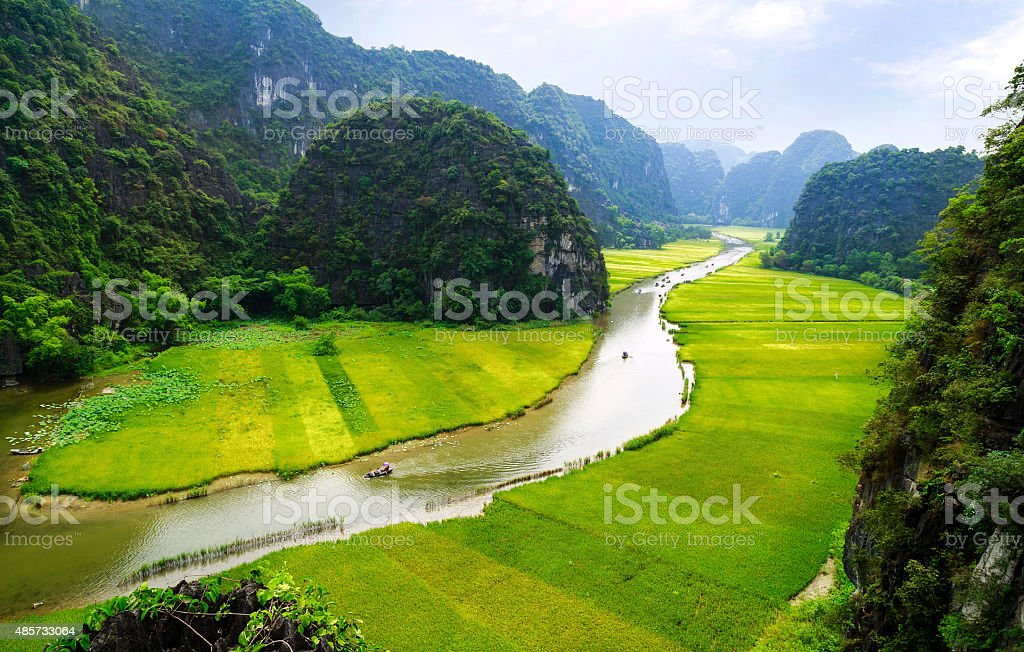 Rice field and river, NinhBinh, vietnam landscapes stock photo