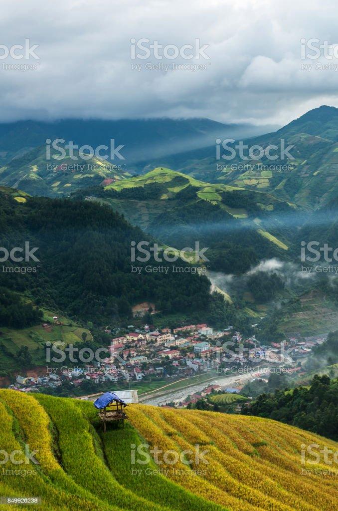 Rice fields on terraced of Mu Cang Chai District, YenBai province, Northwest Vietnam stock photo