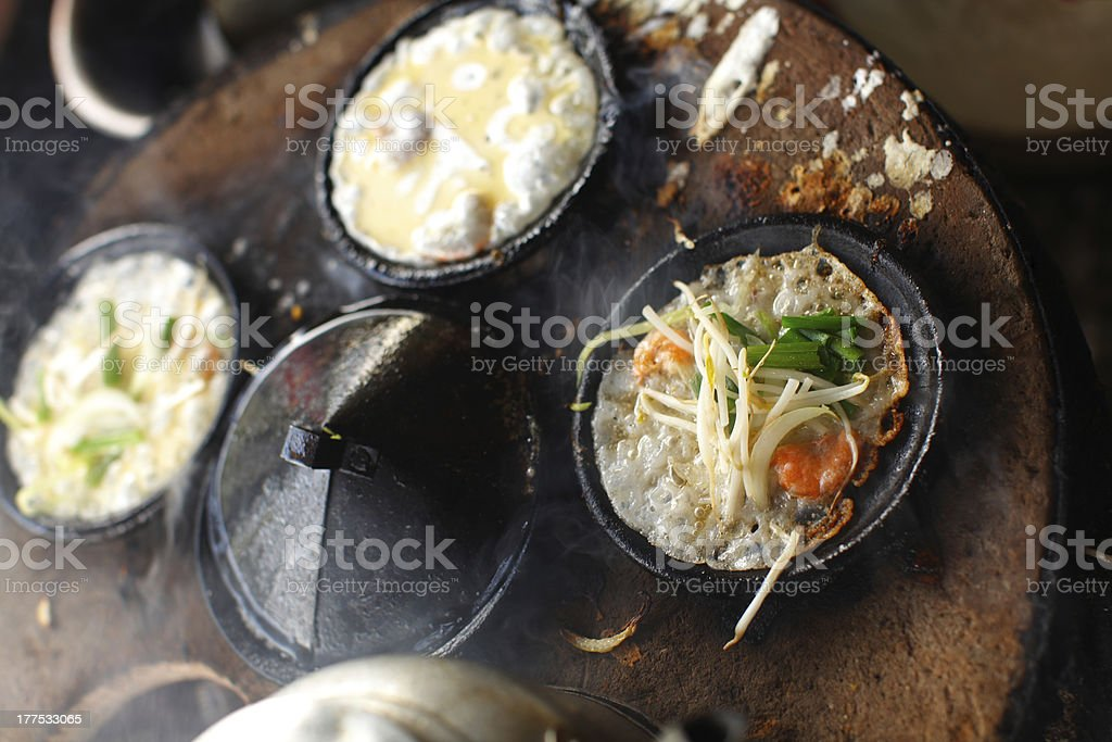 Rice flour pancakes with prawns and vegetables royalty-free stock photo