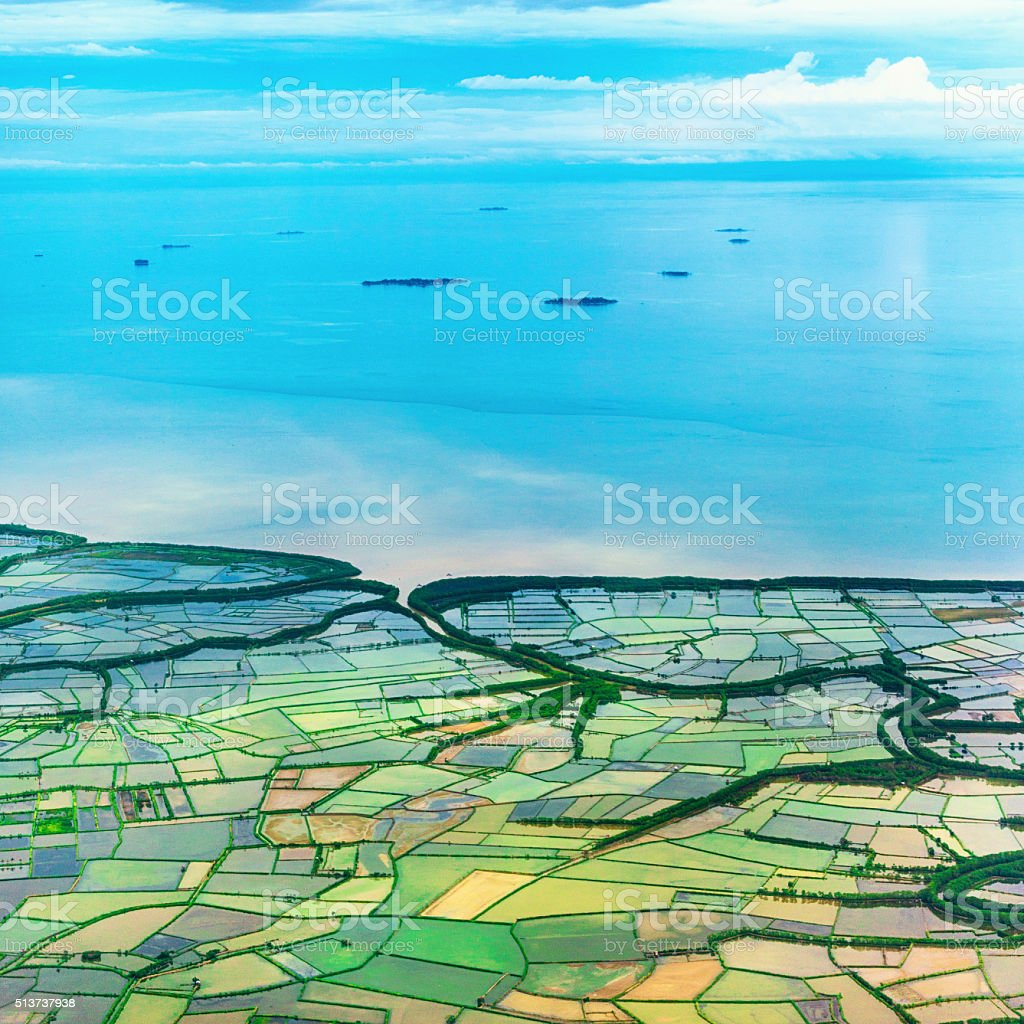 Rice Growing Areas in Coastal Plain, Indonesia stock photo