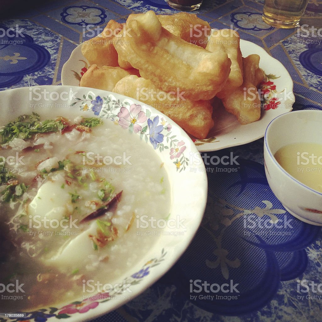 rice gruel with mixed royalty-free stock photo