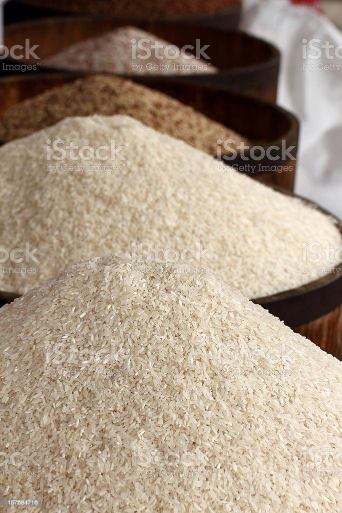 Rice heaps stock photo