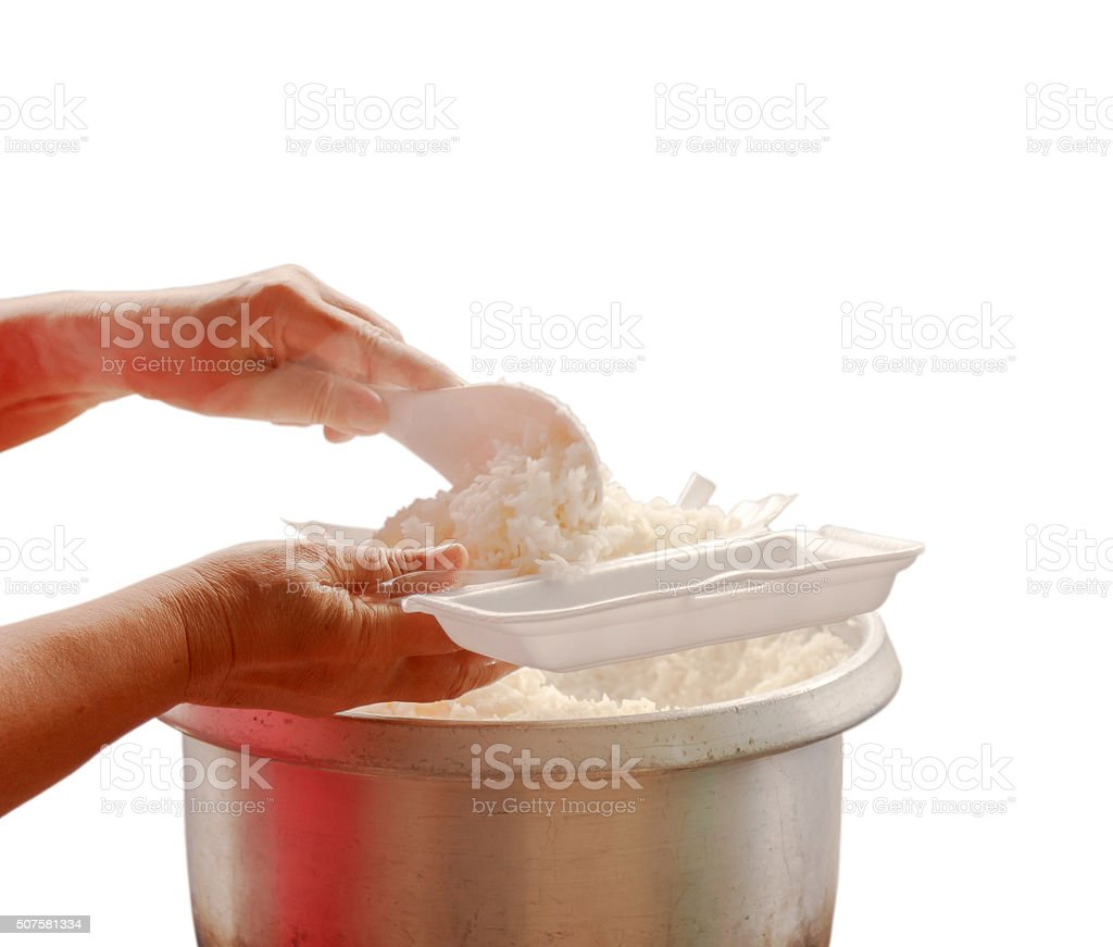 Rice hot freshly cooked stock photo