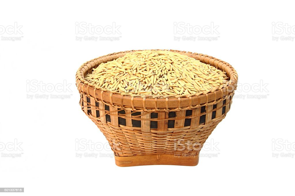 Rice in a basket stock photo