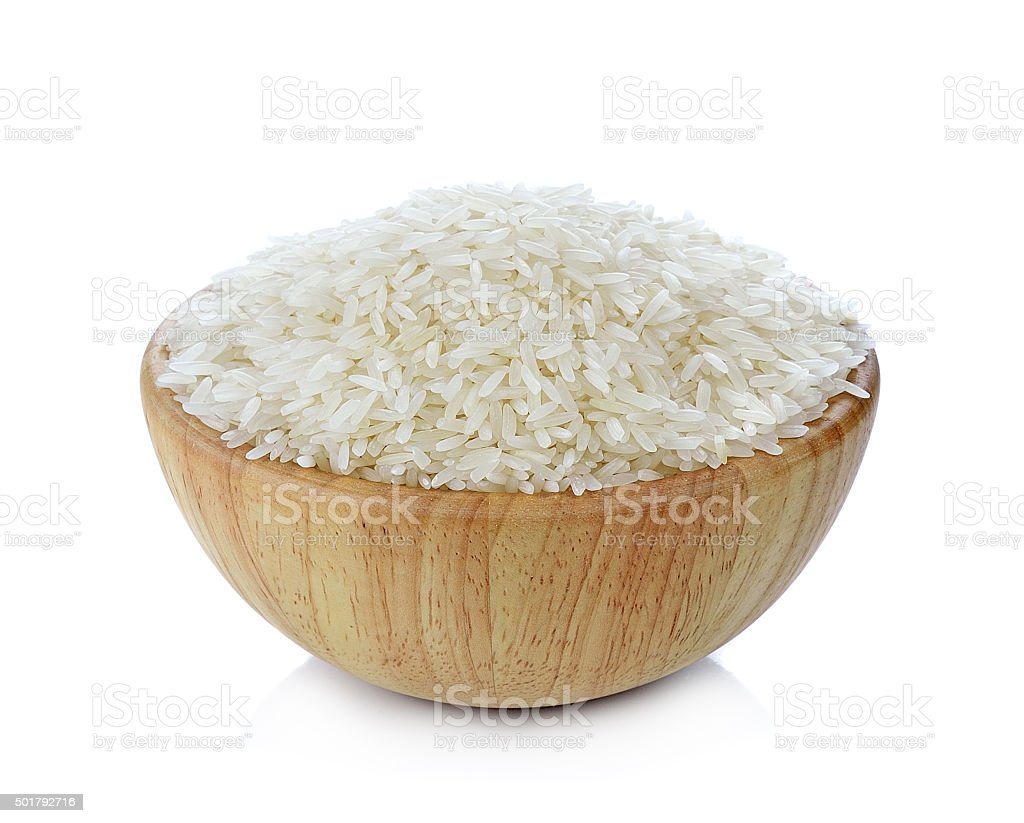 rice in a bowl isolated on white background stock photo
