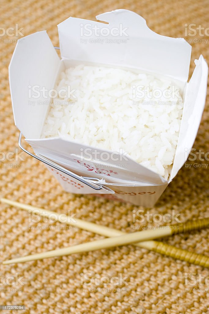Rice in a takeout box stock photo