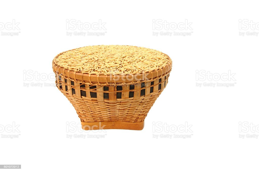 Rice in basket stock photo