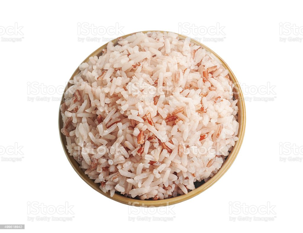 Rice in brown bowl isolated on white, Clipping stock photo