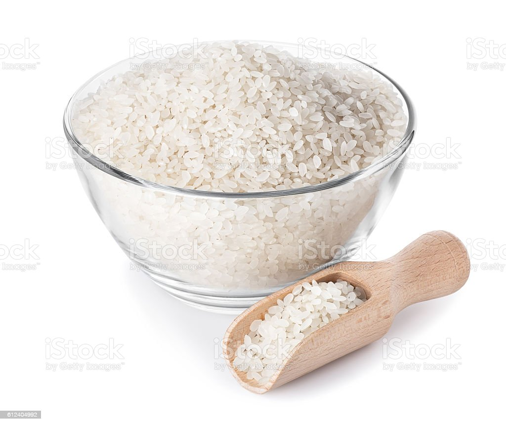 rice in glass bowl stock photo