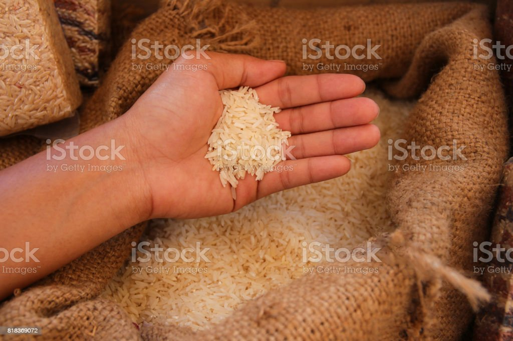 rice in woman hand with sack background stock photo