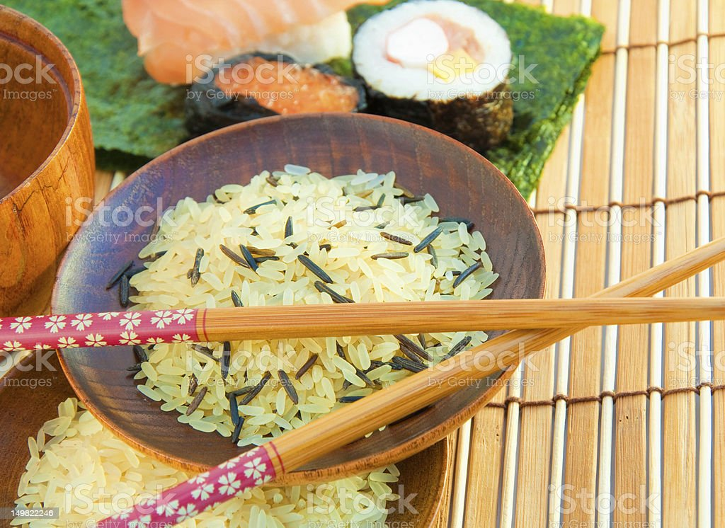 Rice in wooden plates royalty-free stock photo