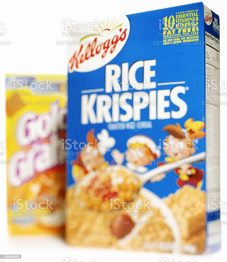 Rice Krispies fat free cereal and Golden Grahams stock photo