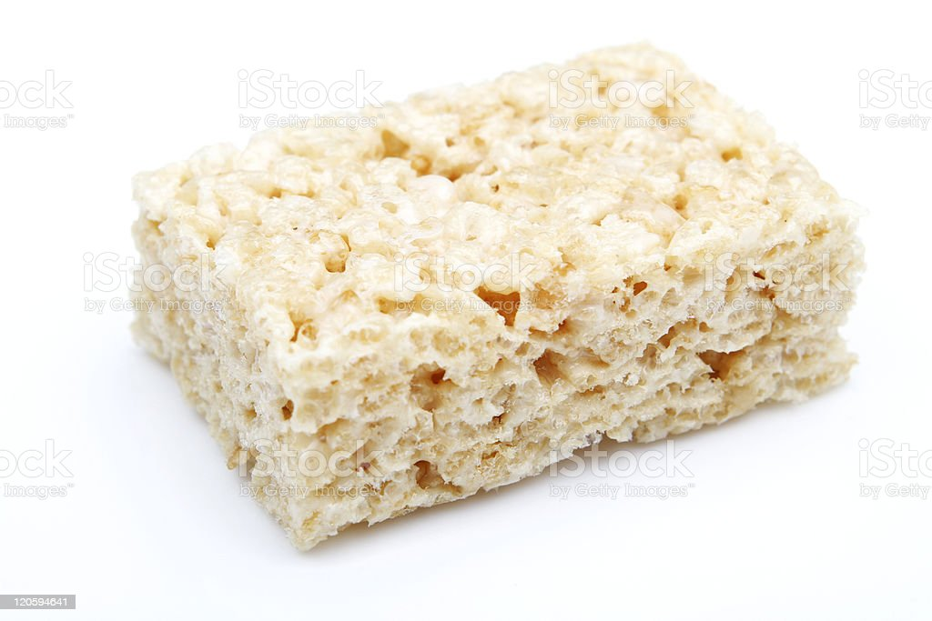 Rice Krispies square on white background stock photo