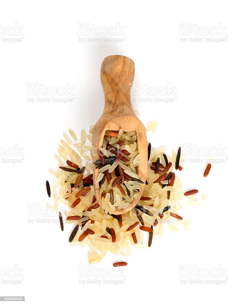 rice mix in a wooden scoop stock photo