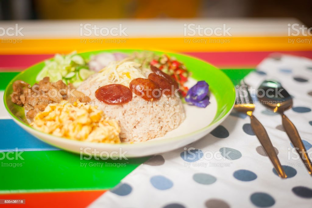 Rice Mixed with Shrimp paste stock photo