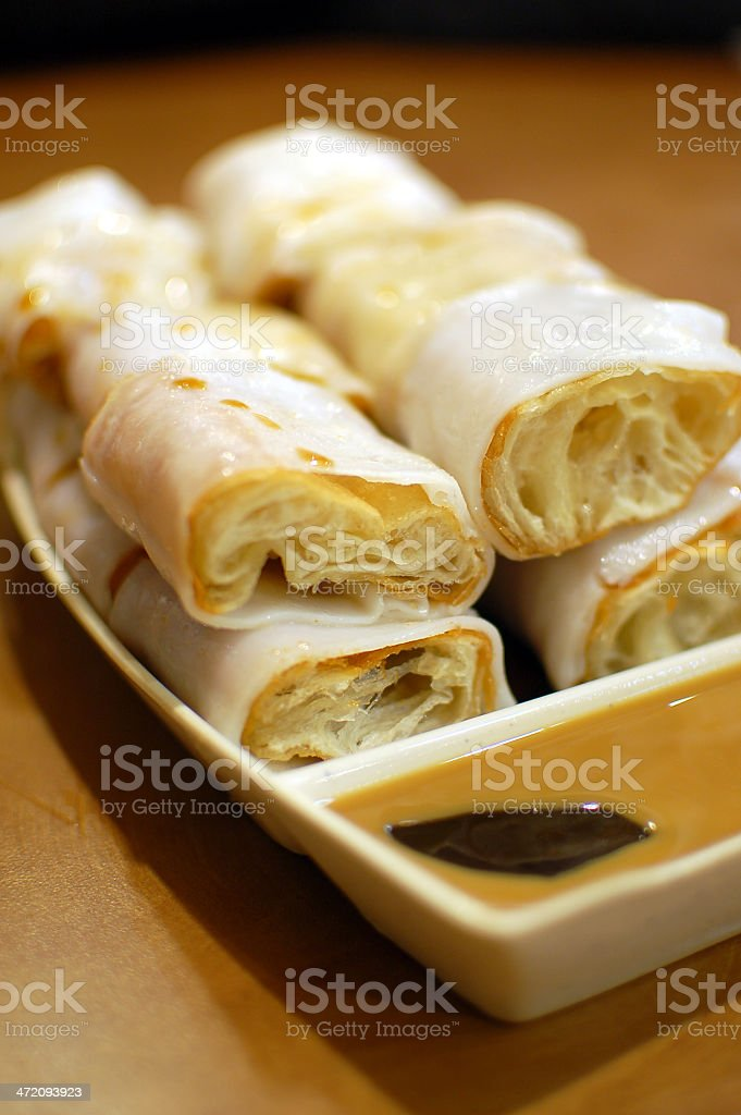 Rice noodle rolls with fried dough stock photo