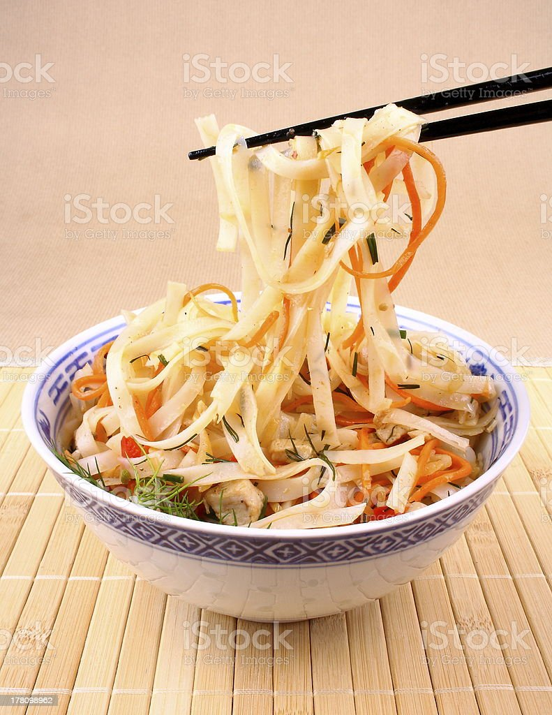 Rice noodle with chopsticks taken royalty-free stock photo