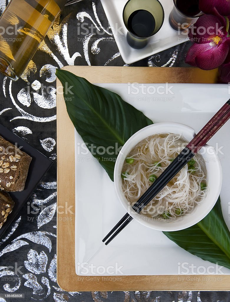 rice noodles dish with peas stock photo