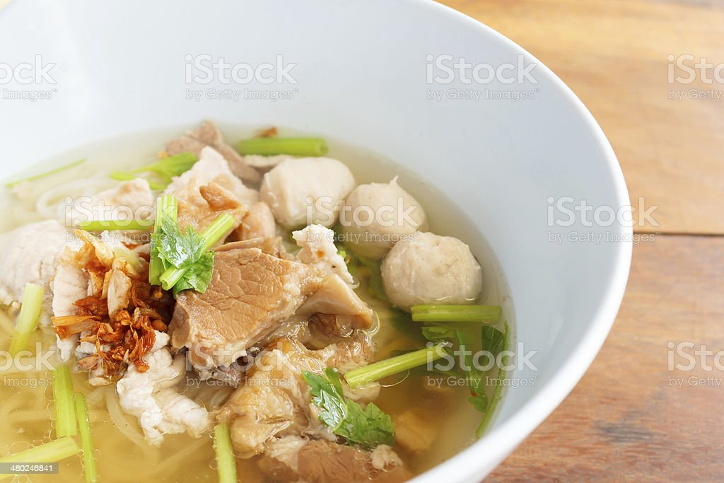rice noodles soup with pork stock photo