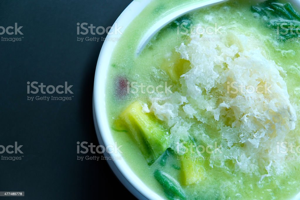 rice noodles with coconut cream stock photo