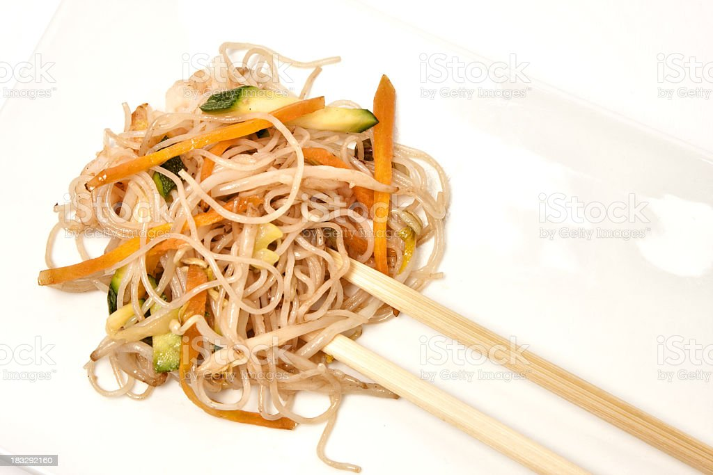 rice noodles with vegetables royalty-free stock photo