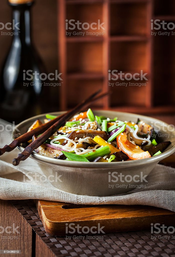 Rice noodles with vegetables stock photo