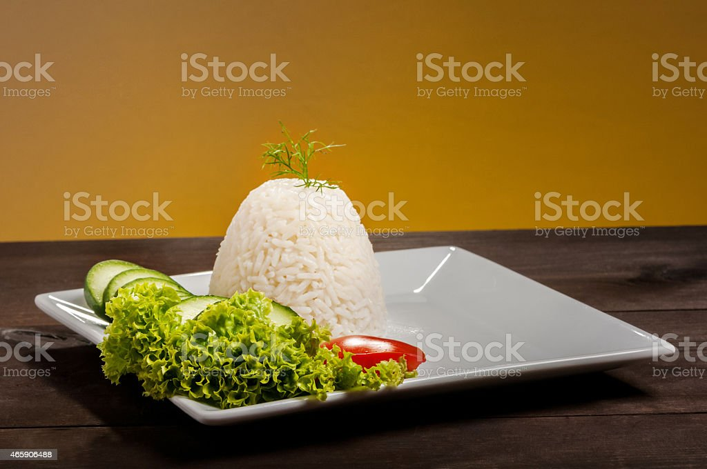 rice on brown plate stock photo