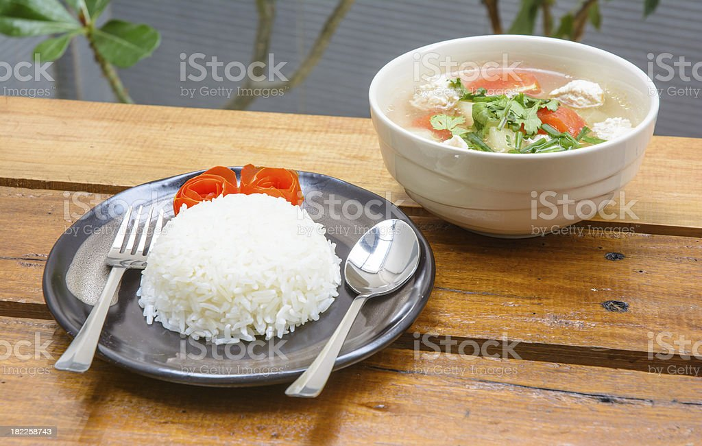 rice on dish with soup royalty-free stock photo