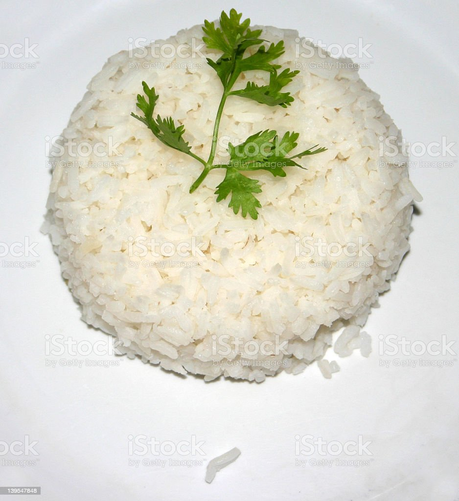 Rice on plate stock photo