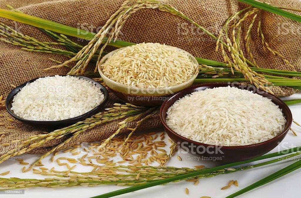 rice on sack background stock photo