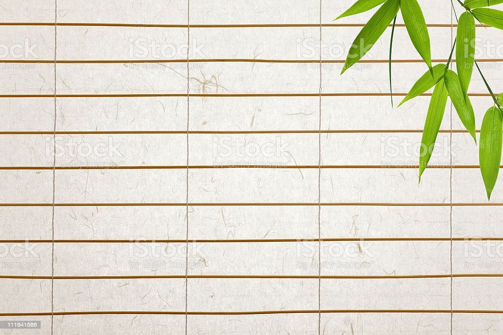 rice paper background with bamboo leaves stock photo