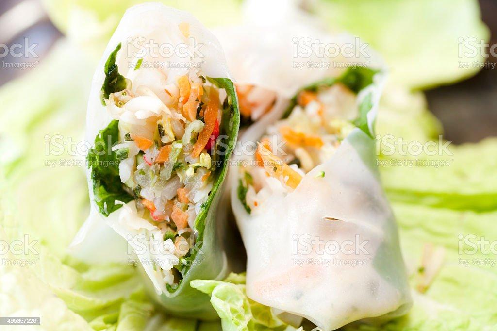 Rice Paper rolls organic stock photo