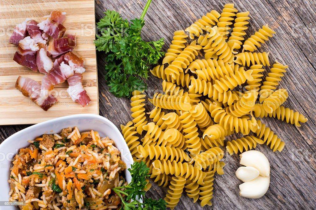 Rice, pasta, smoked ham in natural light stock photo