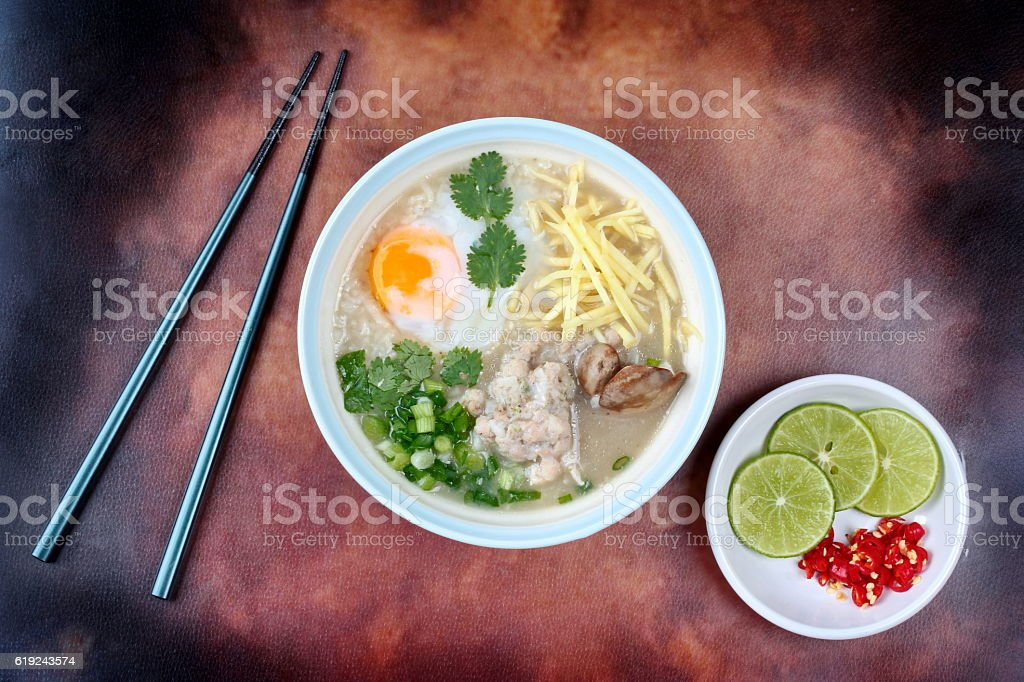Rice porridge with mined pork and chicken lever . stock photo