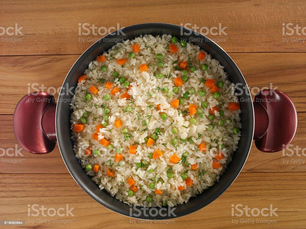 Rice pot stock photo