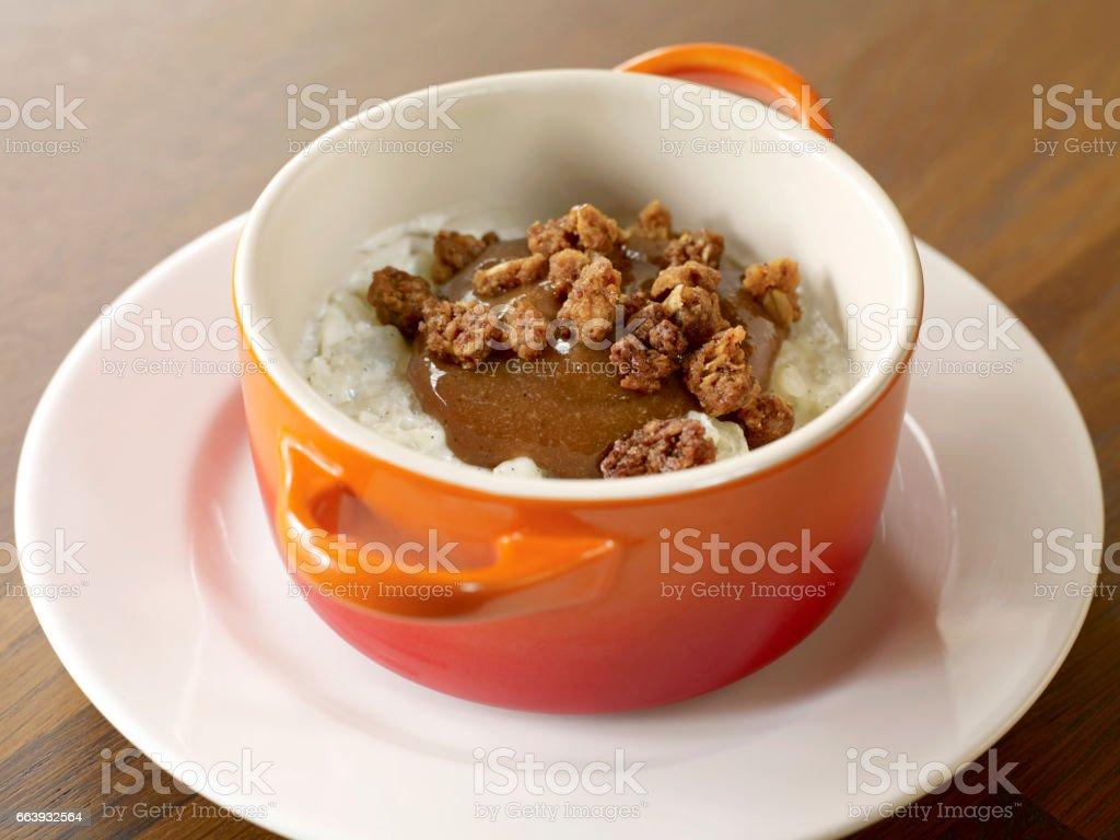 rice pudding and caramel dessert stock photo
