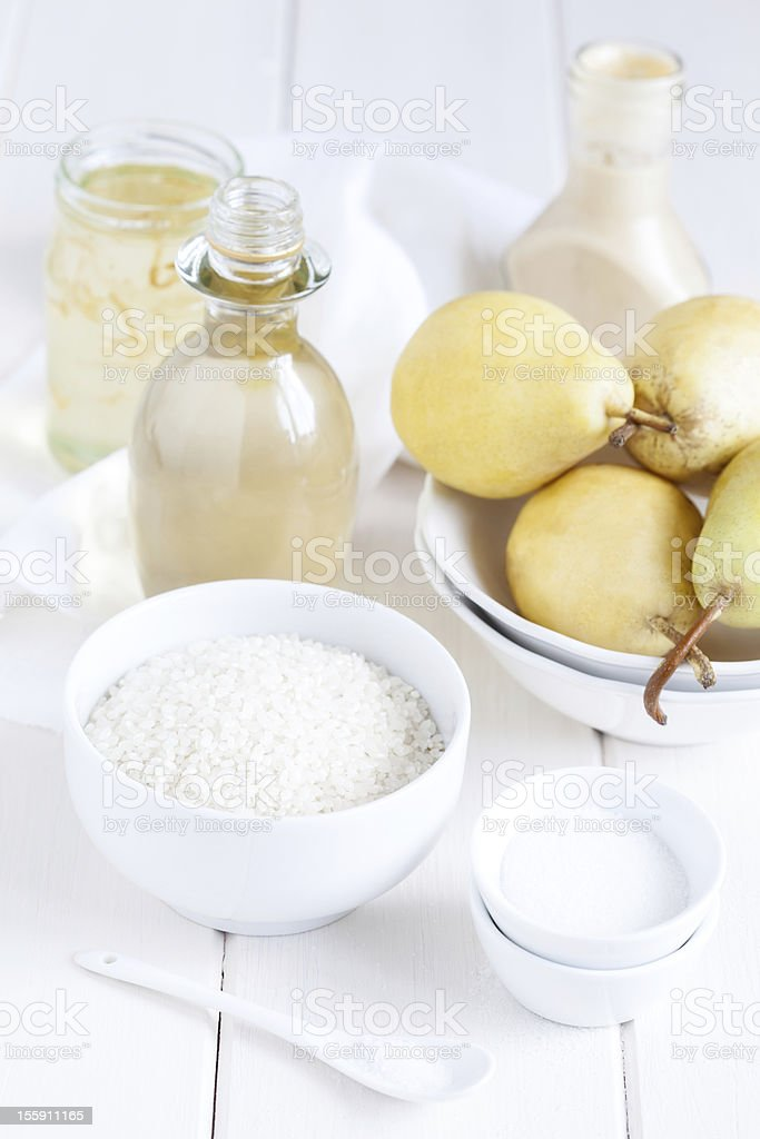 Rice pudding dessert ingredients royalty-free stock photo