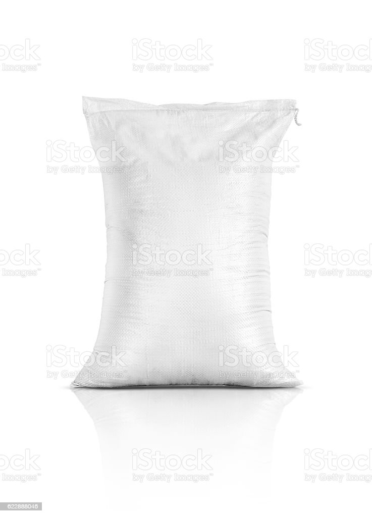 rice sack, agriculture product isolated on white stock photo