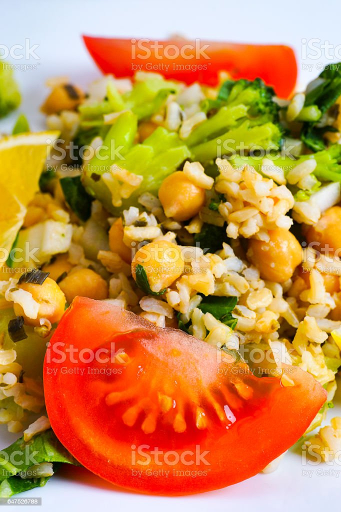 Rice Salad with Beans and Vegetables stock photo