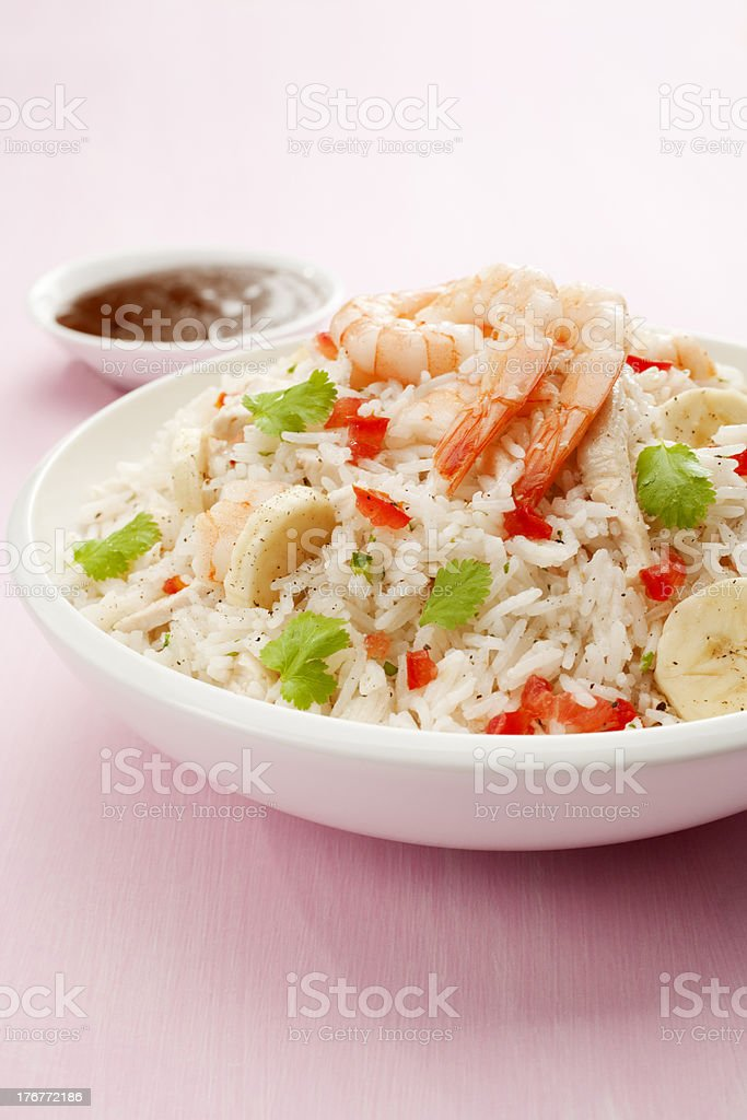 Rice Salad with Prawn or Shrimp and Banana stock photo