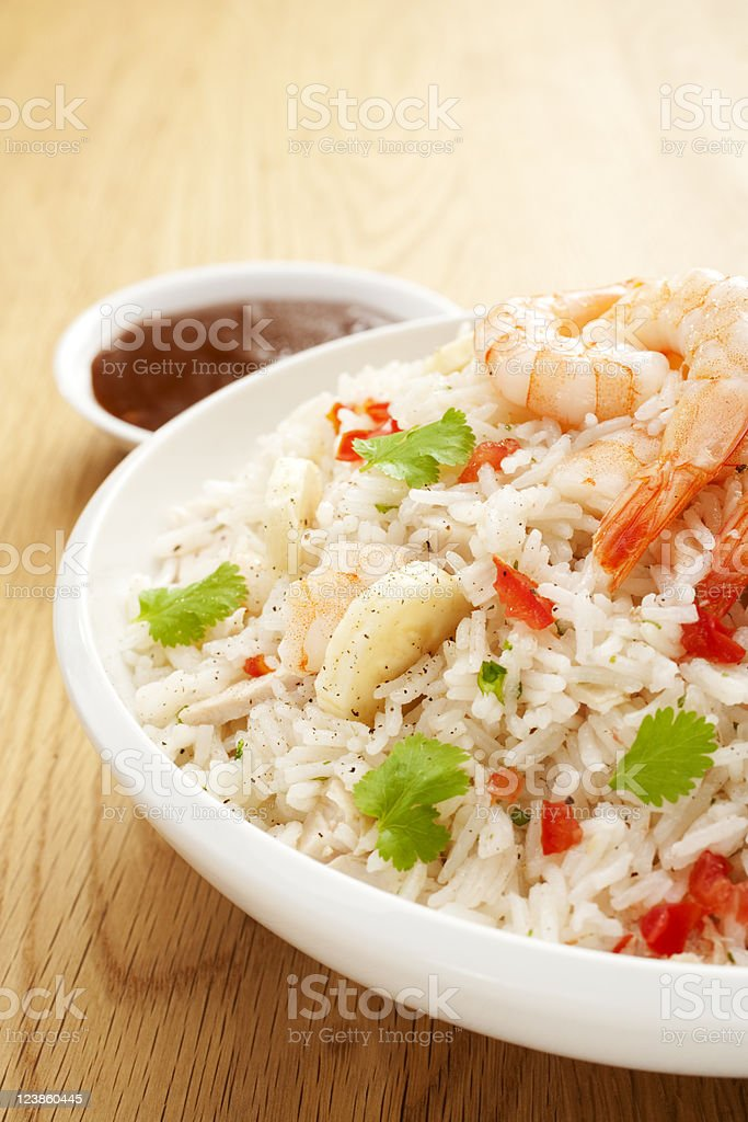 Rice Salad with Prawn or Shrimp and Banana Vertical stock photo