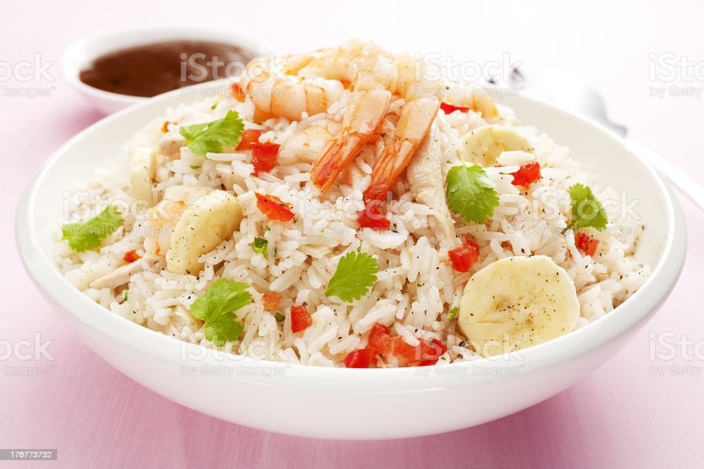 Rice Salad with Prawn or Shrimp Chicken and Banana Horizontal stock photo